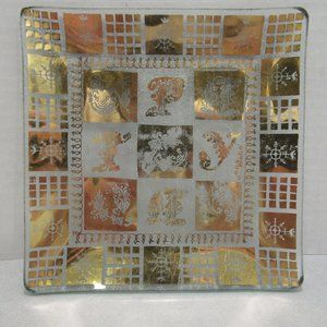 Vintage MCM Gold on Glass Serving Tray Jena Molle